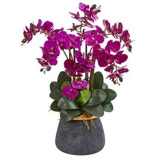 Phalaenopsis Orchid Artificial Arrangement in Stoneware Vase