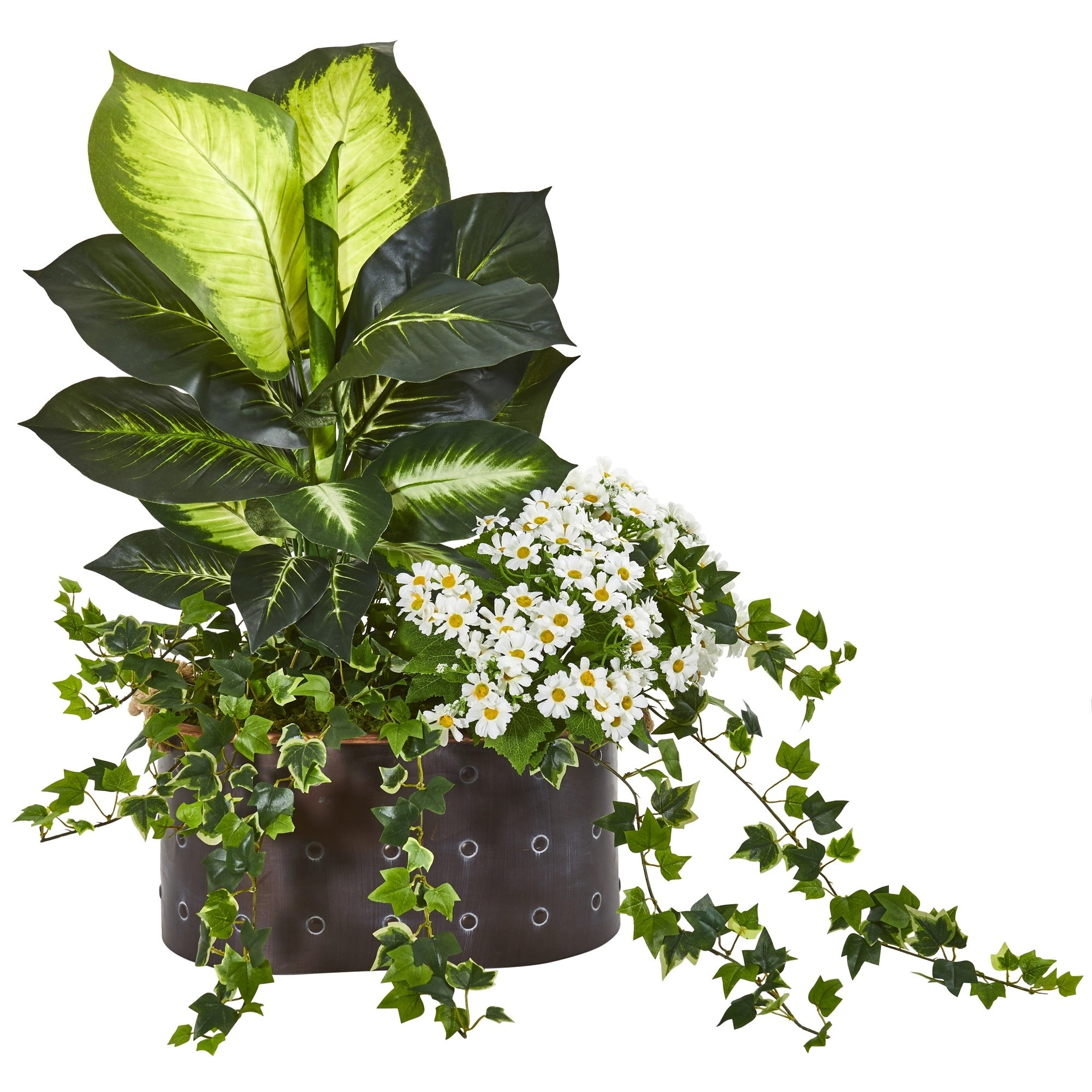 29 Golden Dieffenbachia, Ivy and Daisy Artificial Plant in Planter