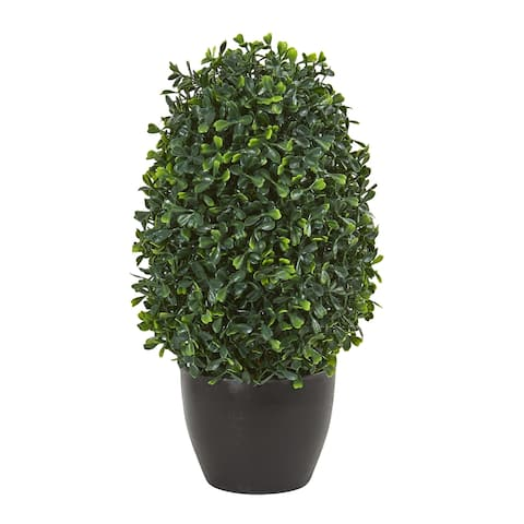 """13"""" Boxwood Topiary Artificial Plant UV Resistant (Indoor/Outdoor)"""