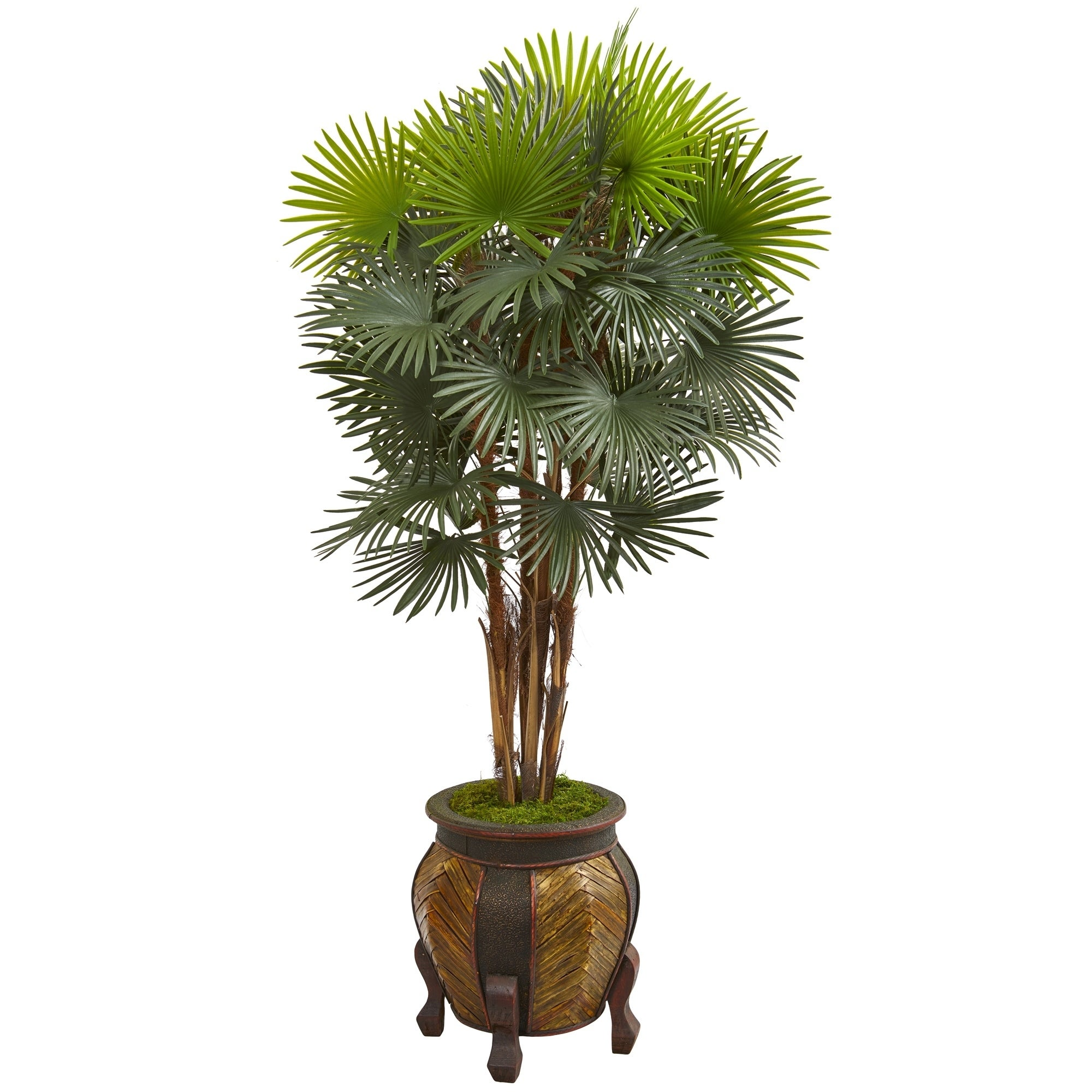 Nearly Natural 5-foot Fan Palm Artificial Tree in Decorative Planter