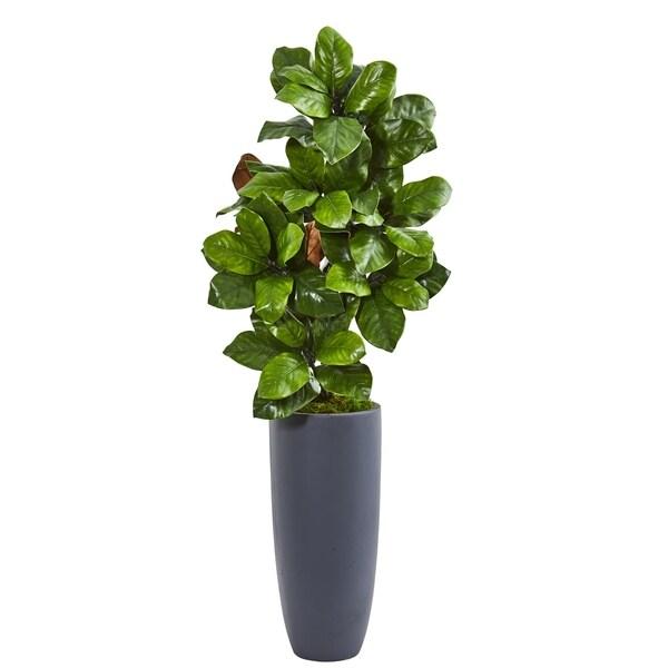 "44"" Magnolia Leaf Artificial Plant in Gray Planter"