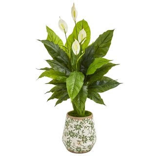 "49"" Spathiphyllum Artificial Plant in Decorative Planter (Real Touch)"