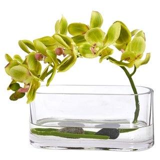Phalaenopsis Orchid Artificial Arrangement in Glass Vase