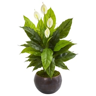 "44"" Spathiphyllum Artificial Plant in Metal Bowl (Real Touch)"