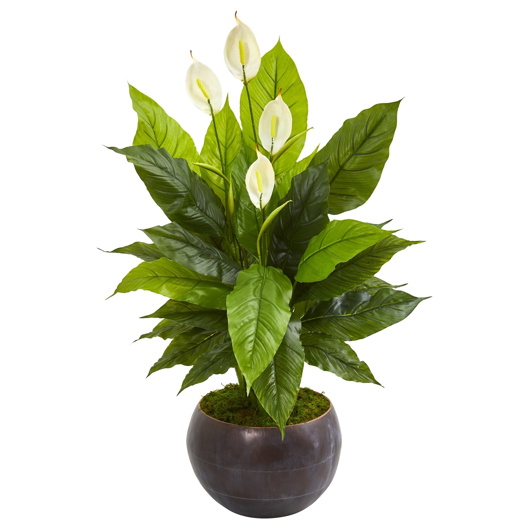 44 Spathiphyllum Artificial Plant in Metal Bowl (Real Touch)
