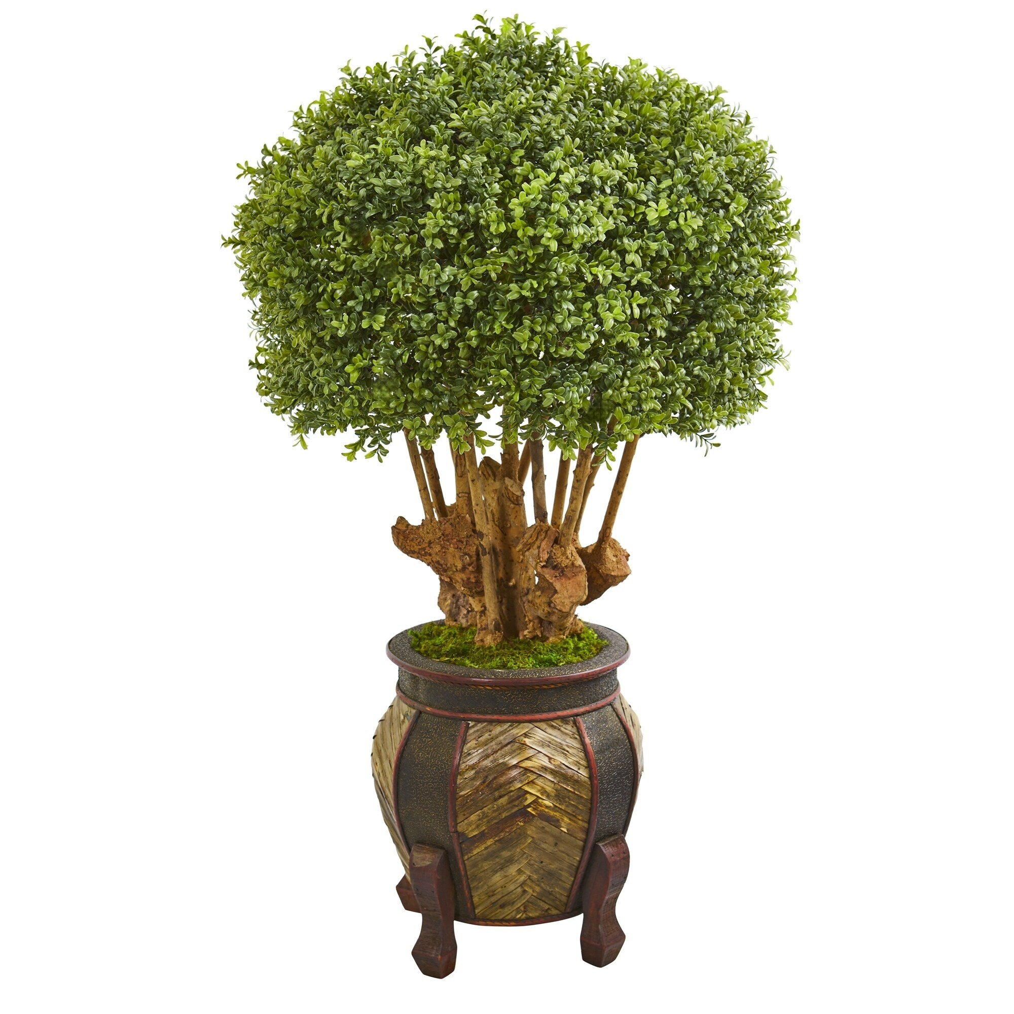 Nearly Natural Boxwood 44 Inch Artificial Topiary Tree In Designer Planter On Sale Overstock 27664082