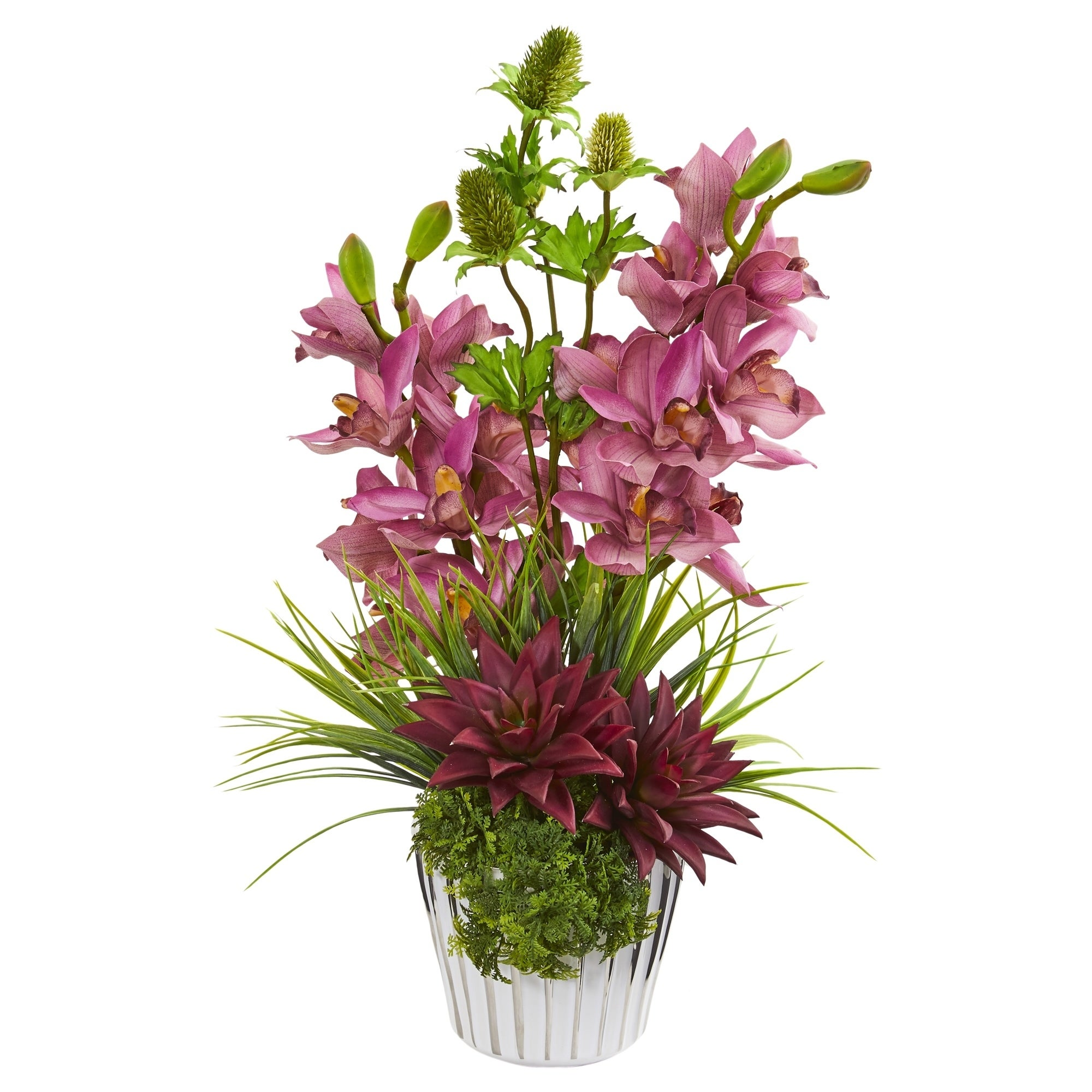 Cymbidium Orchid, Agave and Thistle Artificial Arrangement