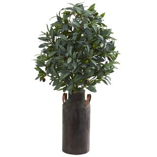 "31"" Olive with Berries Artificial Plant in Decorative Canister"