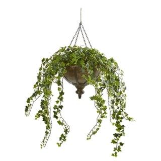 "43"" Ivy Artificial Hanging Plant in Hanging Metal Bowl"