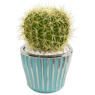 Cactus Artificial Plant in Turquoise Vase with Silver Trimming