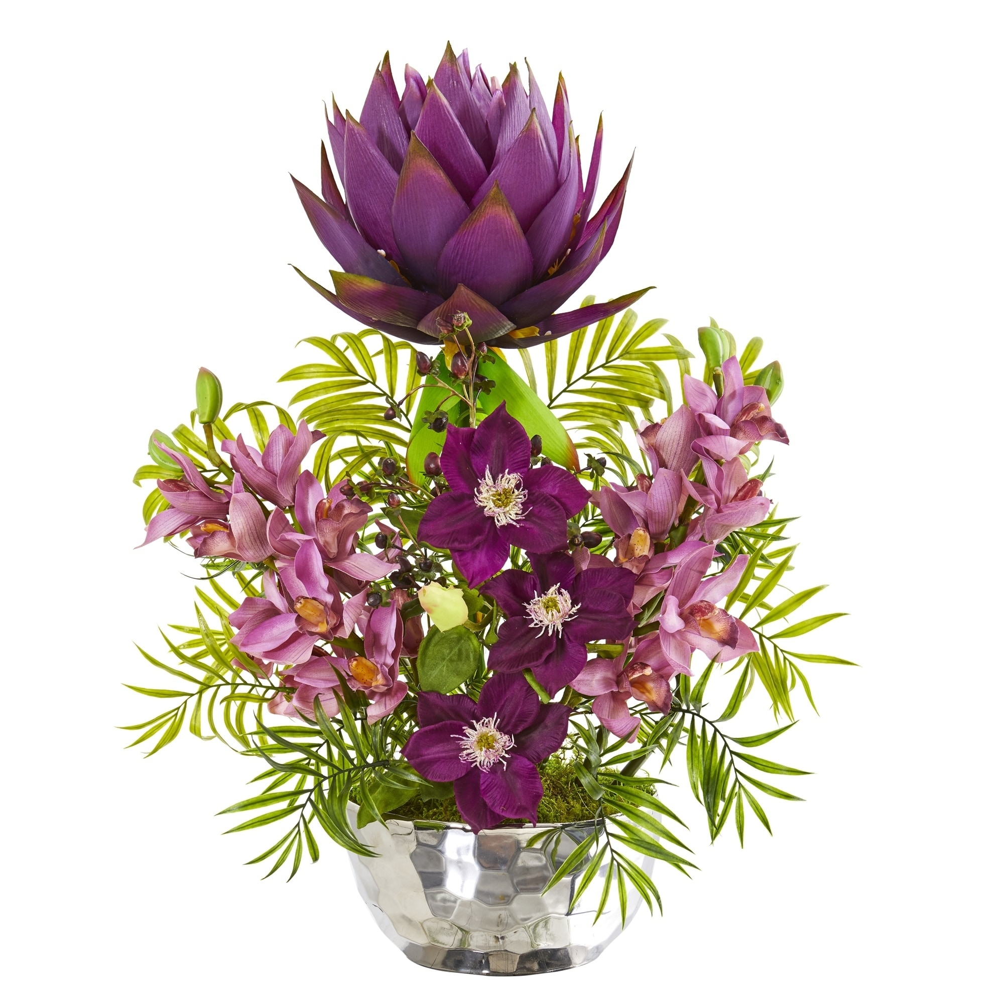 24 Cymbidium Orchid and Mixed Floral Artificial Arrangement in Silver Vase