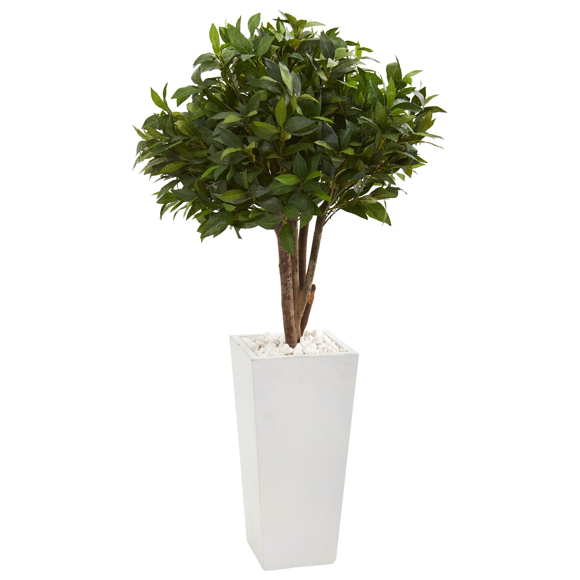 49 Bay Leaf Topiary Artificial Tree in White Tower Planter