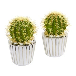 "8"" Cactus Artificial Plant in Decorative Planter (Set of 2)"