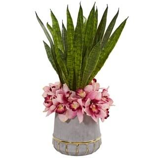 """25"""" Cymbidium Orchid and Sansevieria Artificial Arrangement in Vase"""