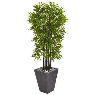 "61"" Bamboo Artificial Tree with Black Trunks in Slate Planter UV Resistant (Indoor/Outdoor)"