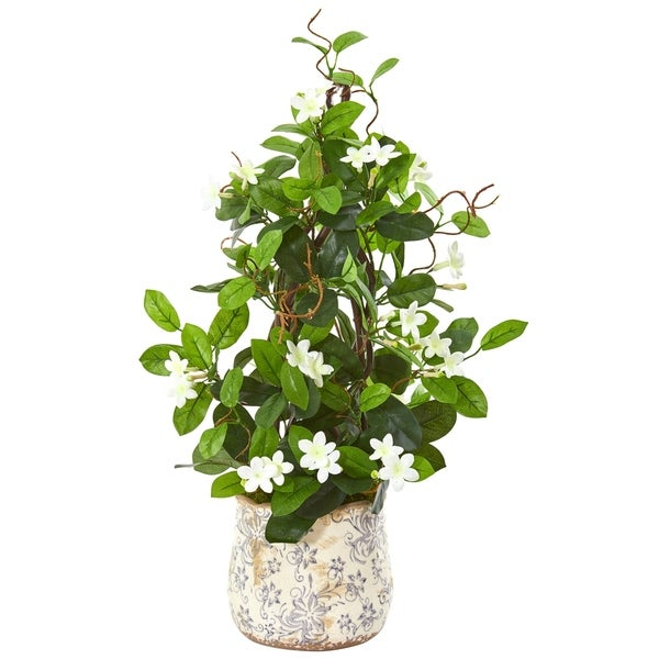 "25"" Stephanotis Artificial Climbing Plant in Decorative Planter"