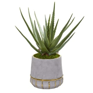Nearly Natural 20-inch Aloe Artificial Plant in Stoneware Planter