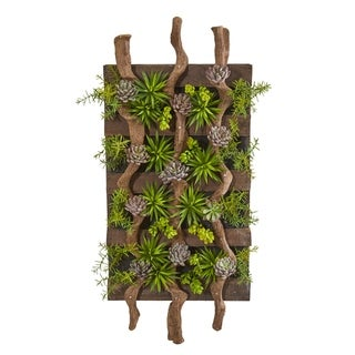 "41"" x 19"" Mixed Succulent Artificial Living Wall"