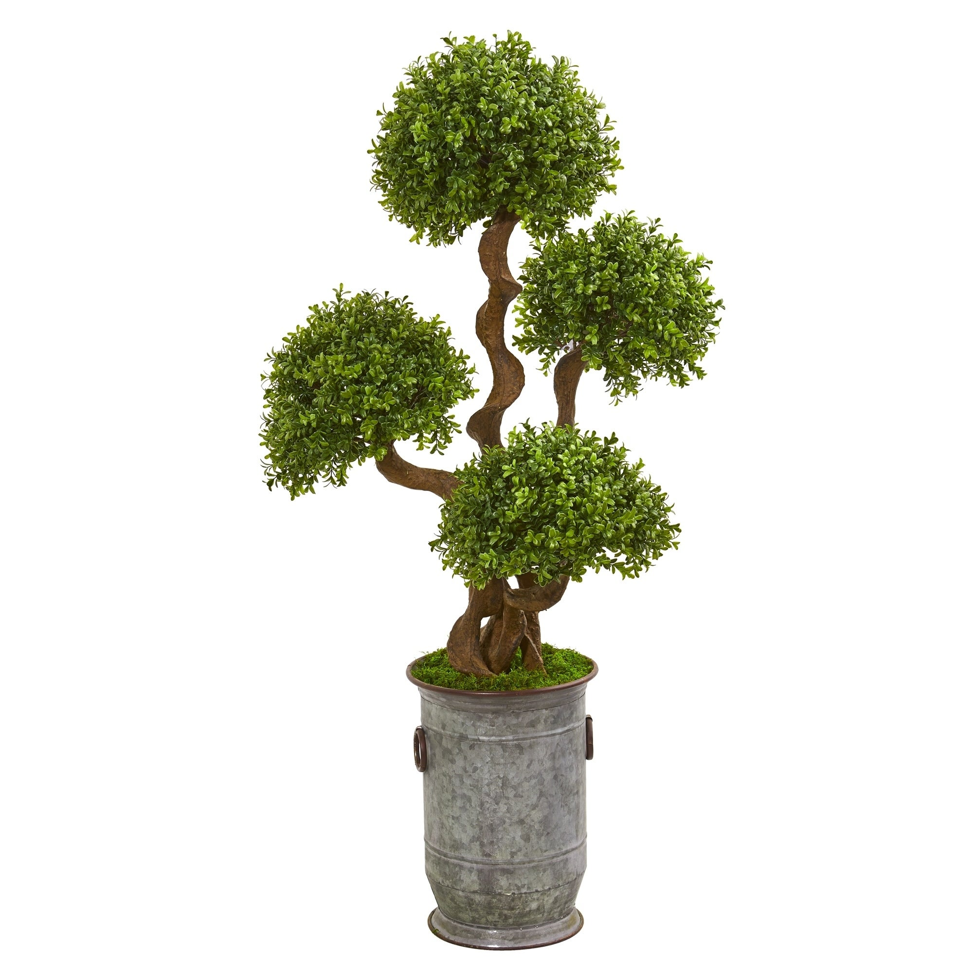 50 Triple Ball Boxwood Artificial Topiary Tree in Metal Planter