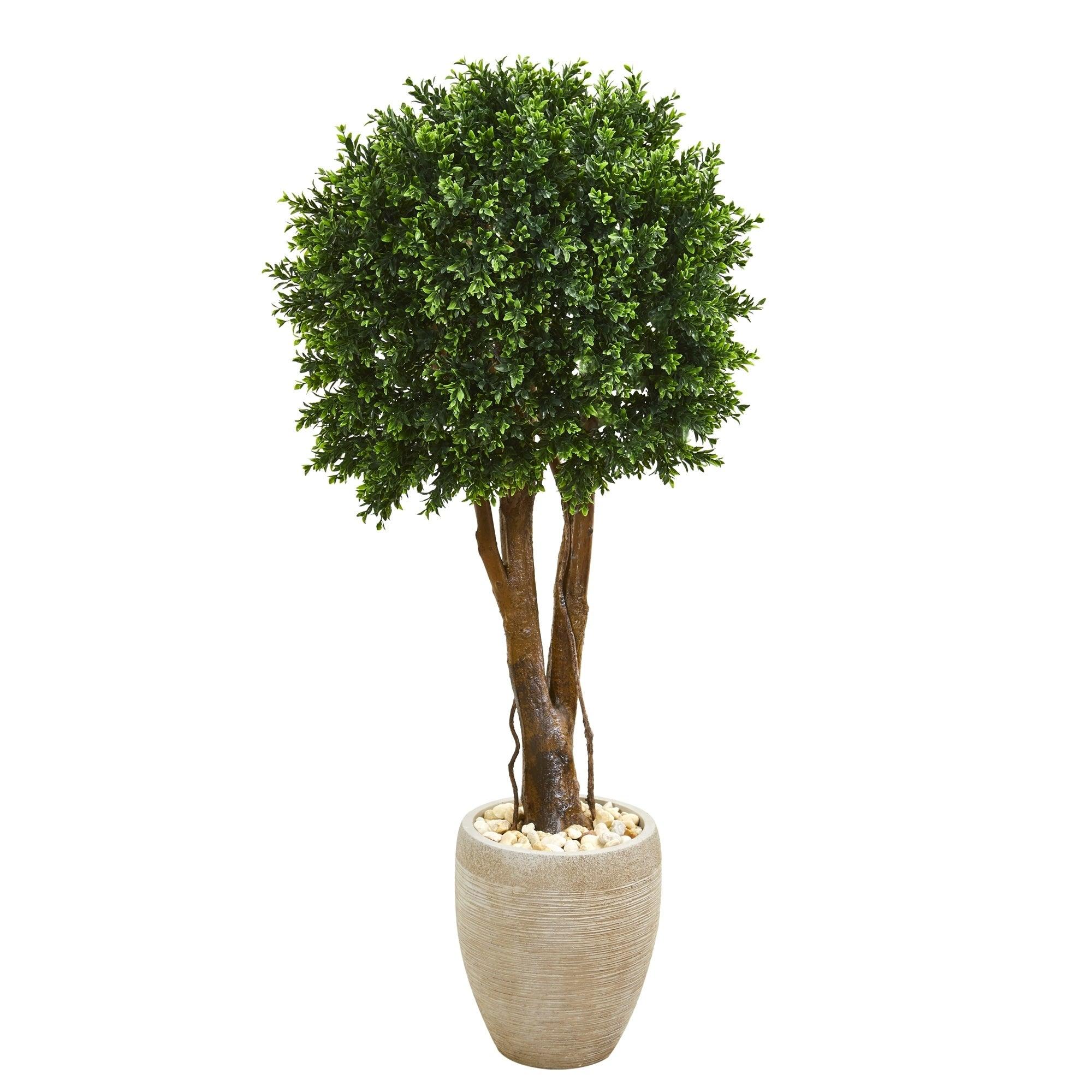 52 Boxwood Artificial Topiary Tree in Planter UV Resistant (Indoor/Outdoor)