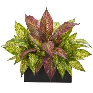 "16"" Musa Leaf Artificial Plant in Black Planter"
