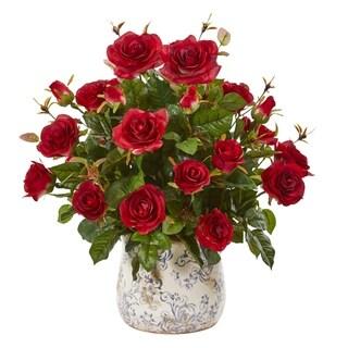 "21"" Garden Rose Artificial Plant in Decorative Vase"