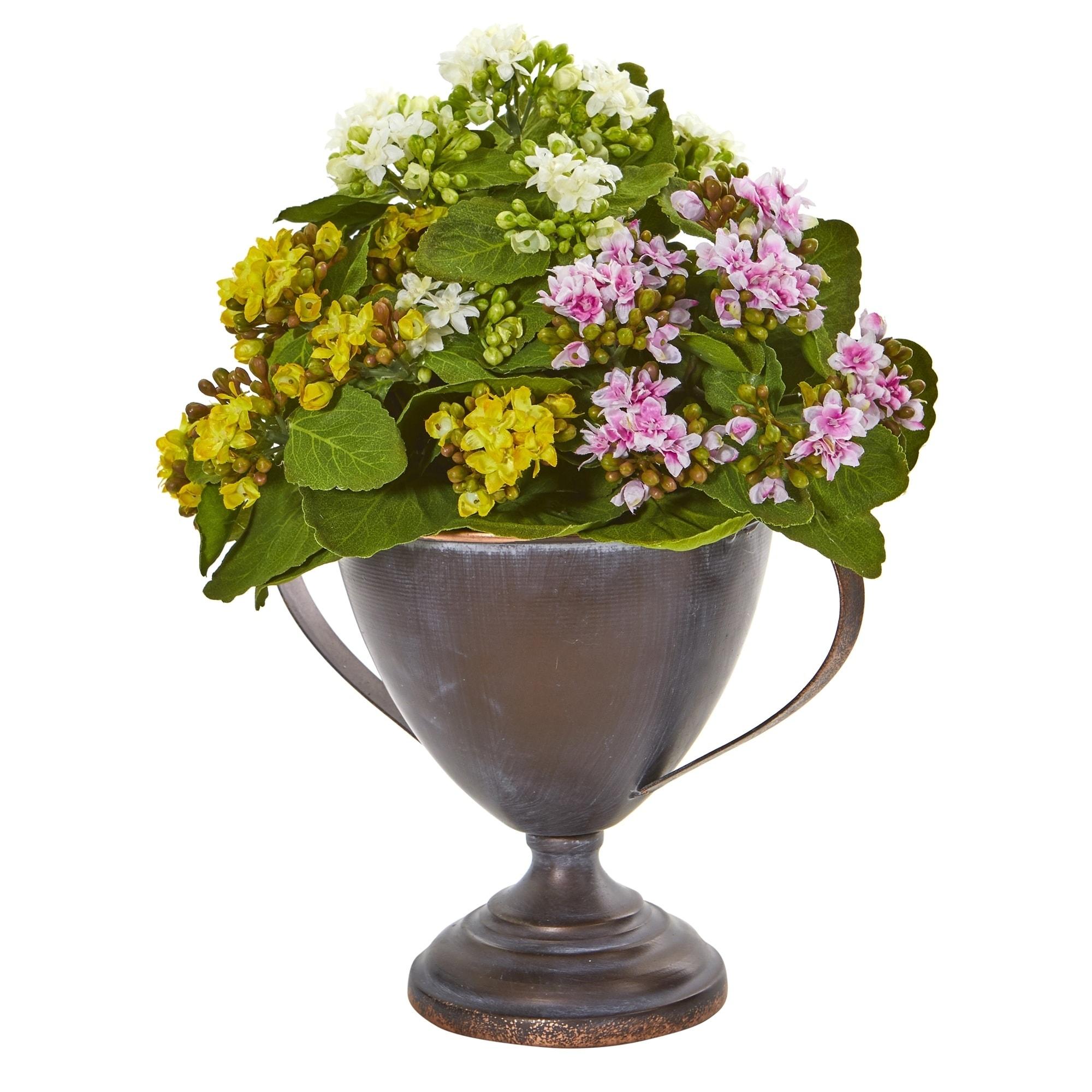 13 Kalanchoe Artificial Plant in Decorative Goblet