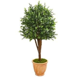 """52"""" Eucalyptus Artificial Tree in Terra-Cotta Planter UV Resistant (Indoor/Outdoor)"""