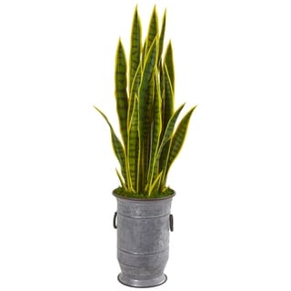 "40"" Sansevieria Artificial Plant in Metal Planter"