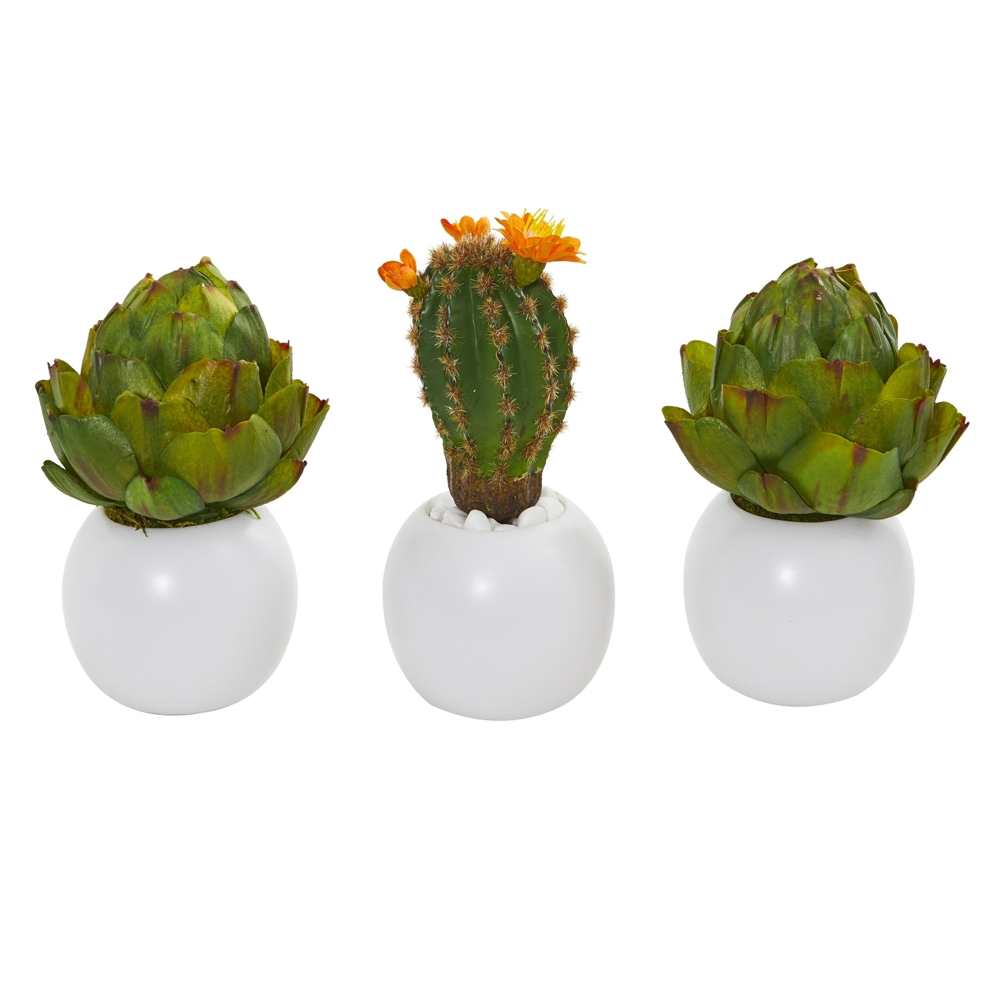 8 Artichoke and Cactus Artificial Plant in White Planter (Set of 3)