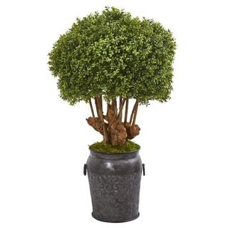 """44"""" Boxwood Artificial Topiary Tree in Metal Planter (Indoor/Outdoor)"""