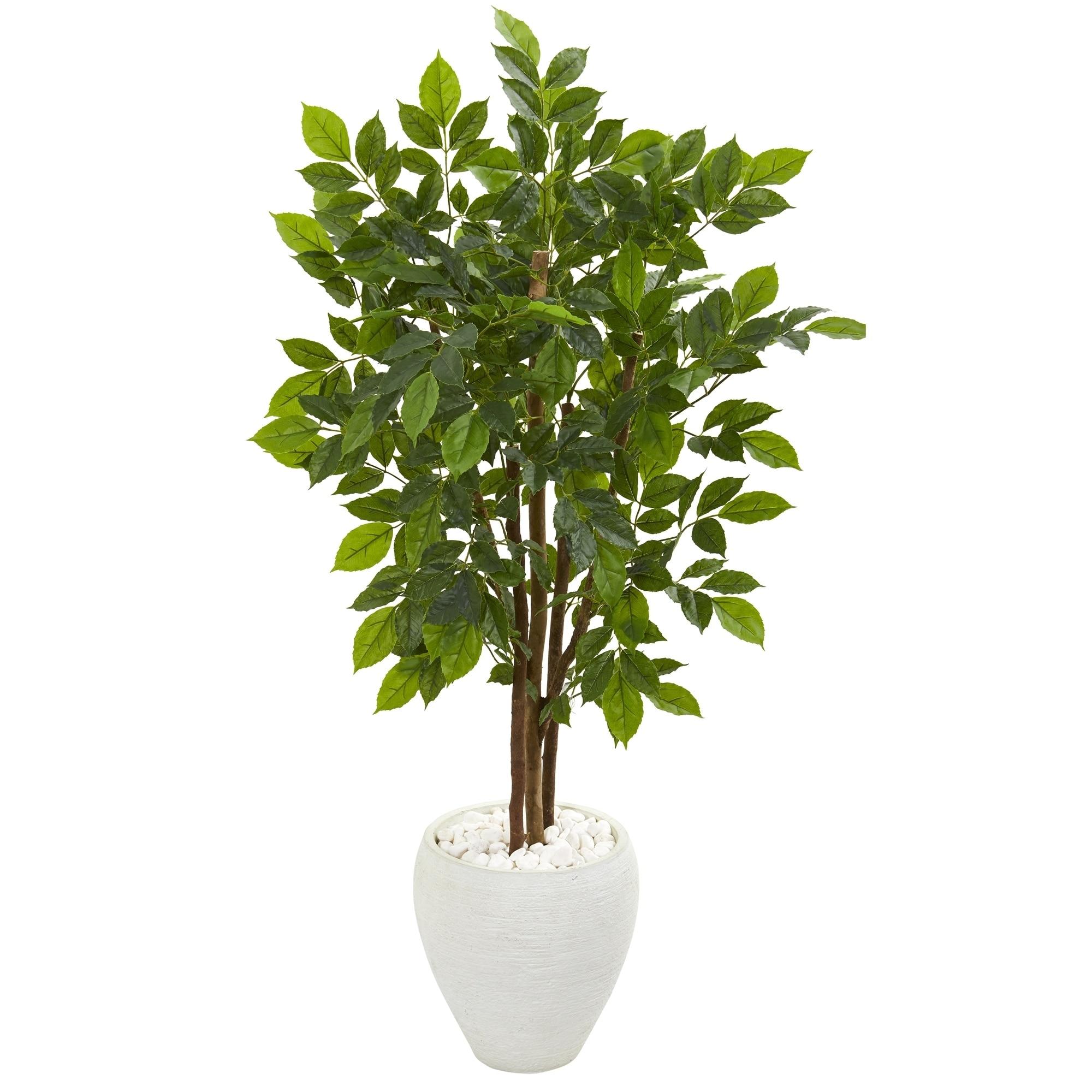 56 River Birch Artificial Tree in White Planter