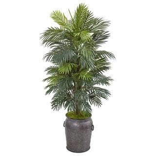 5' Areca Palm Artificial Plant in Metal Planter