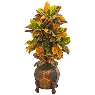 "Nearly Natural 44"" Croton Real Touch Artificial Plant in Decorative Planter"