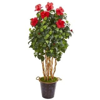"62"" Hibiscus Artificial Tree in Decorative Planter"