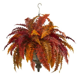 "28"" Autumn Boston Fern Artificial Plant in Hanging Metal Bowl"