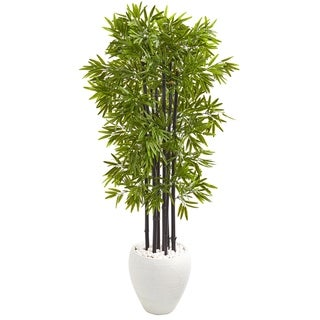 5' Bamboo Artificial Tree with Black Trunks in White Planter UV Resistant (Indoor/Outdoo