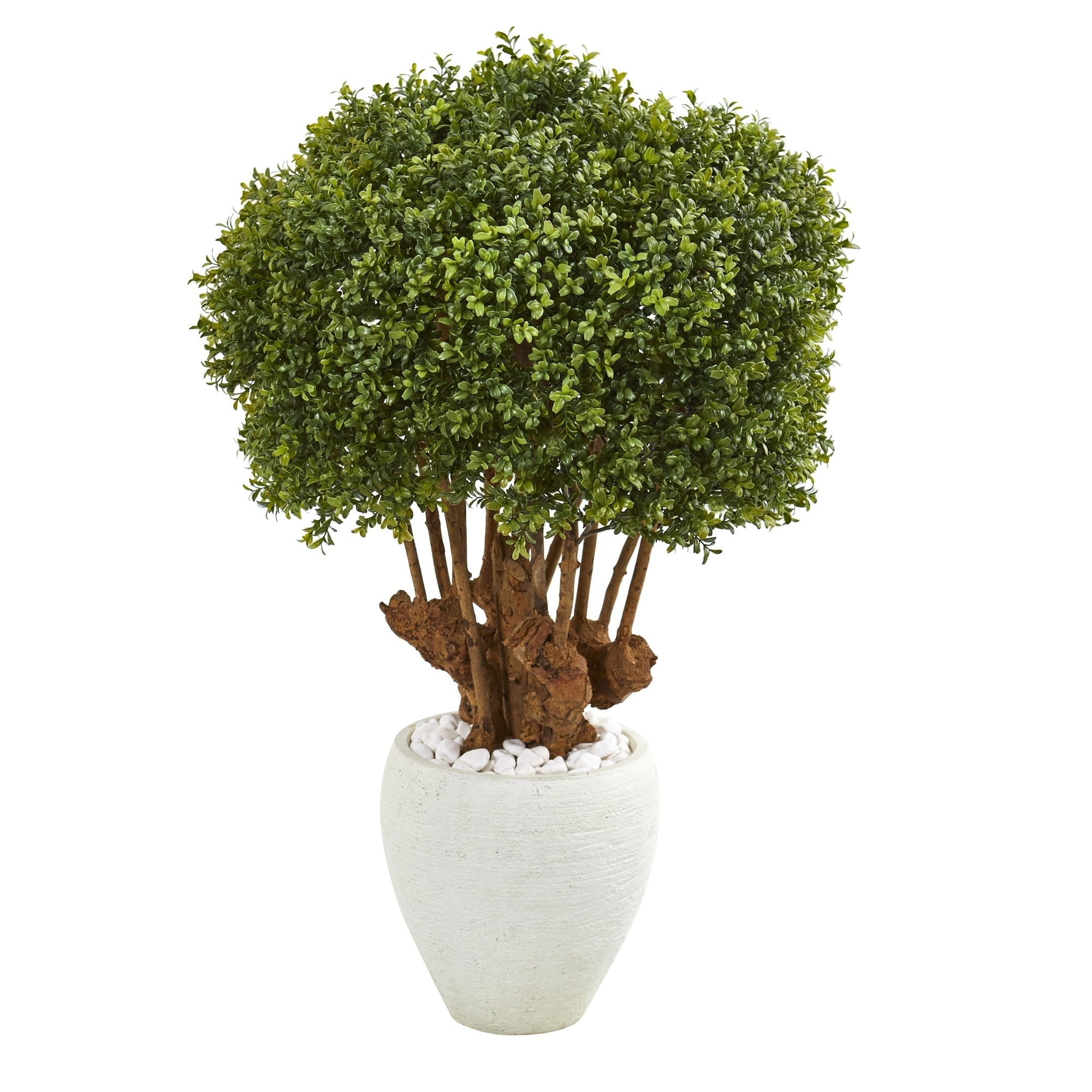 41 Boxwood Artificial Topiary Tree in White Planter (Indoor/Outdoor)