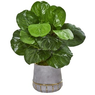 """23"""" Fiddle Leaf Artificial Plant in Stoneware Planter"""