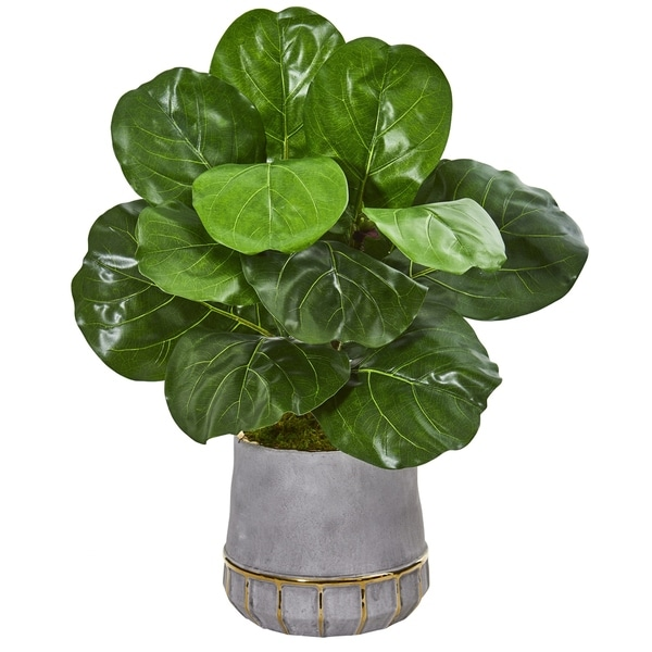 "23"" Fiddle Leaf Artificial Plant in Stoneware Planter"