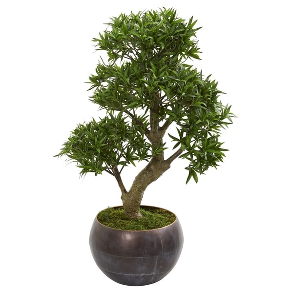 "37"" Podocarpus Artificial Bonsai Tree in Metal Bowl"