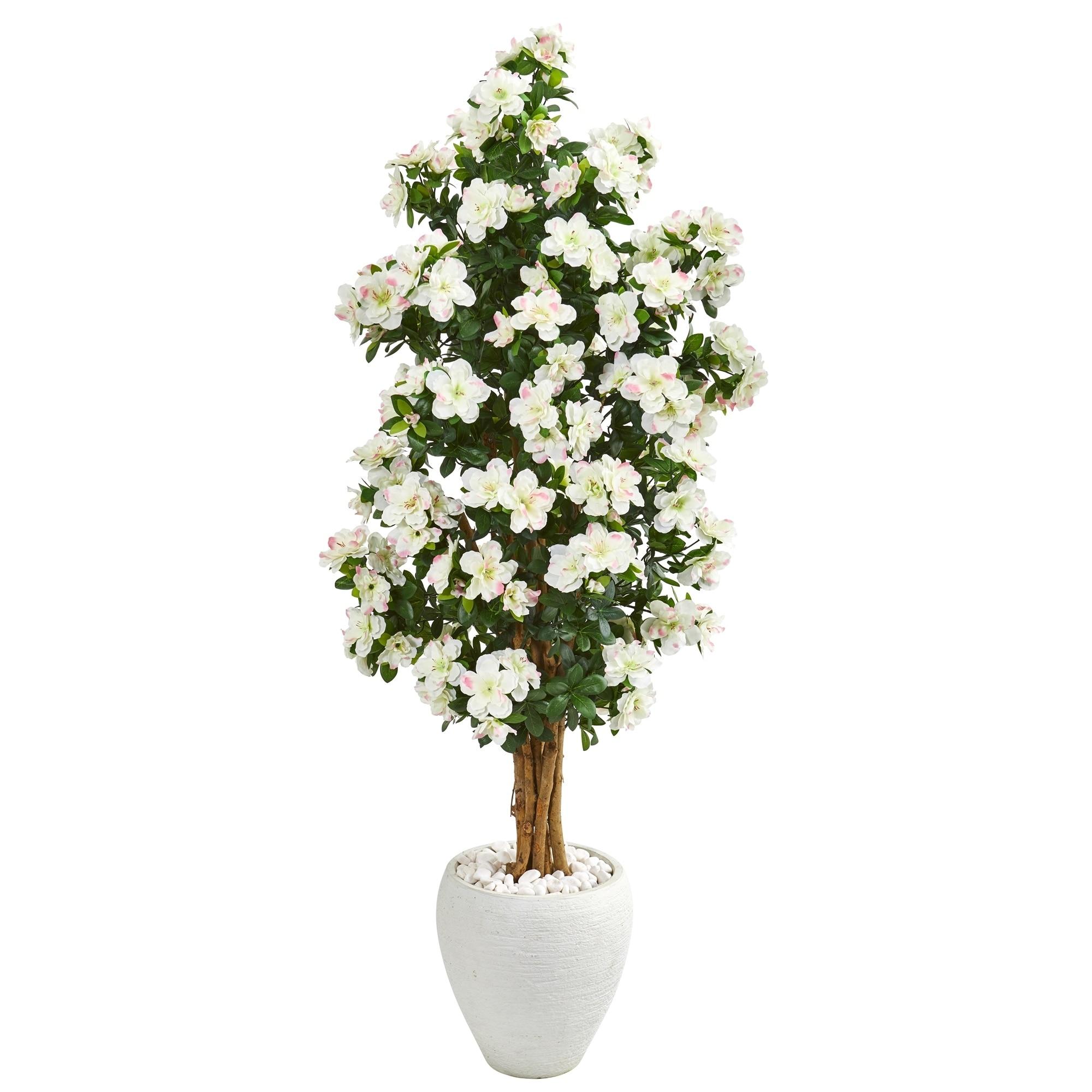 5 Azalea Artificial Tree in White Planter