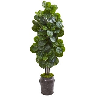 6' Fiddle Leaf Fig Artificial Tree in Metal Planter
