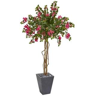 6.5' Bougainvillea Artificial Tree in Decorative Planter