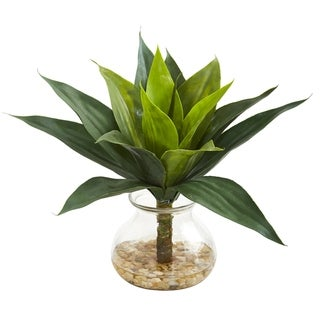 Agave Succulent Artificial Plant in Glass Vase