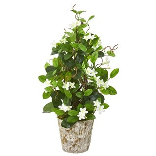 "25"" Stephanotis Artificial Climbing Plant in Weathered Planter"