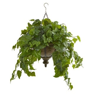 "34"" London Ivy Artificial Plant in Hanging Bowl (Real Touch)"