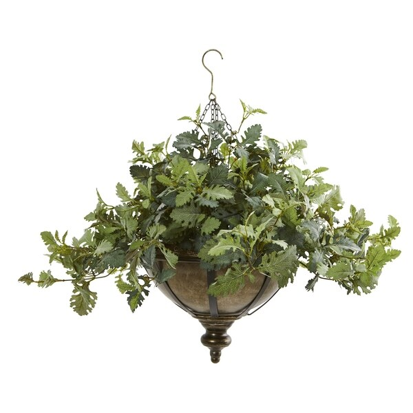 "23"" Dusty Miller Artificial Plant in Hanging Bowl"