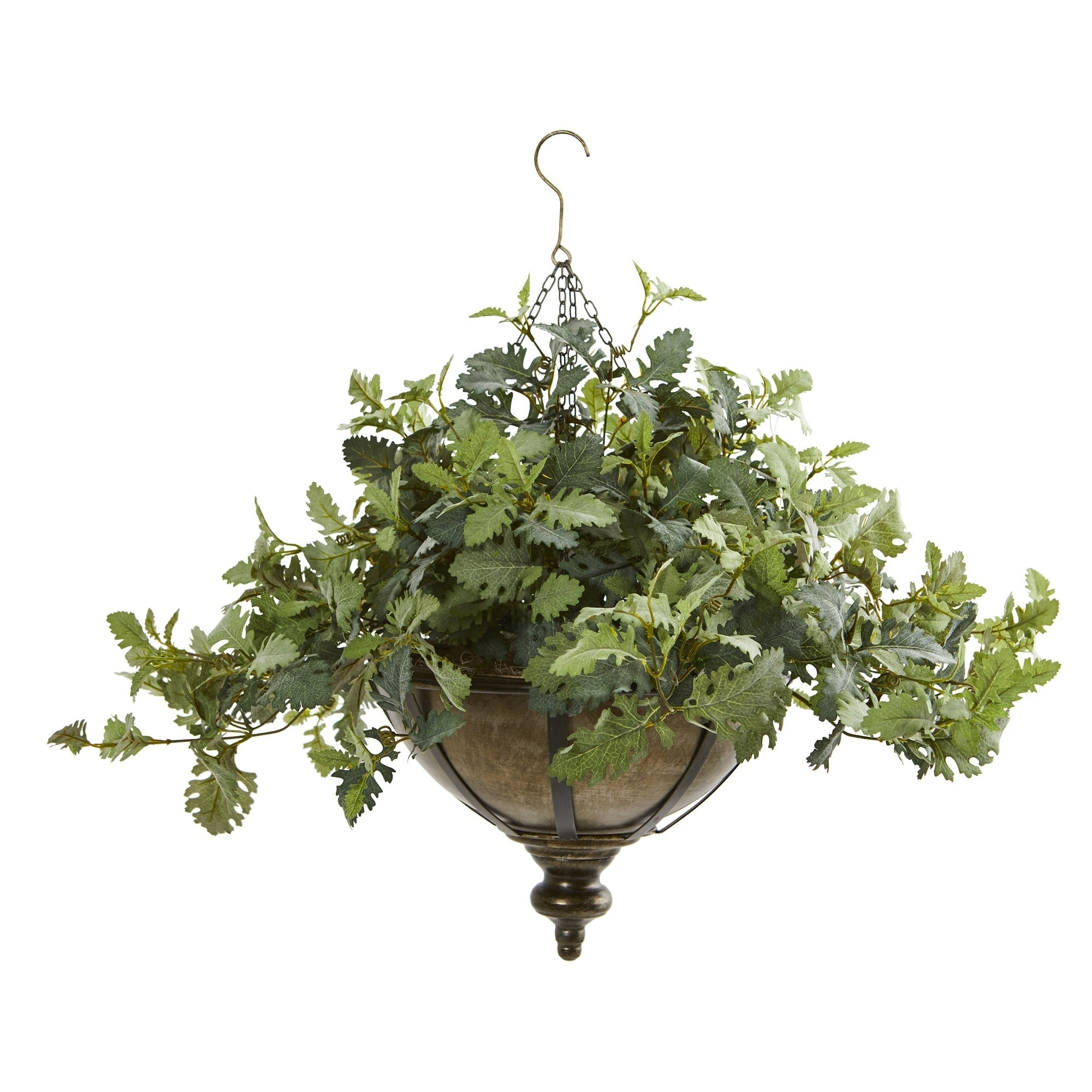 23 Dusty Miller Artificial Plant in Hanging Bowl