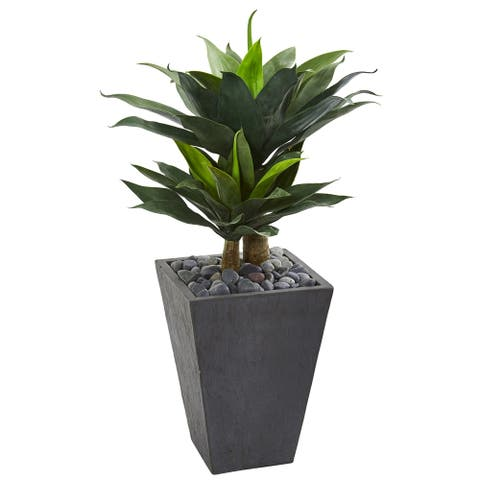 """37"""" Double Agave Succulent Artificial Plant in Slate Planter"""